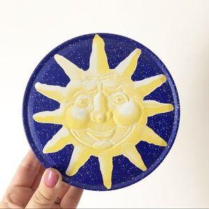 Vintage Celestial Sun Tin Boho Decor